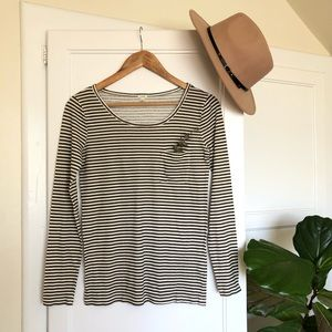 J. Crew Striped Cotton Top with Pocket